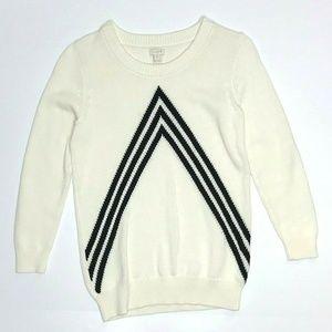 J Crew Factory Chevron Intarsia Cotton Sweater GUC
